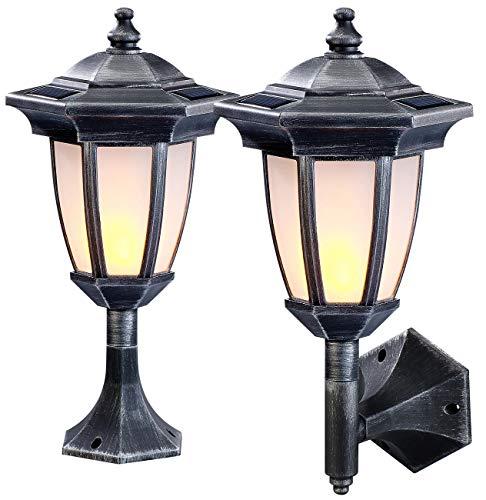 Lunartec Solar-LED-Standleuchten: 2er-Set Solar-LED-Stand- & Wandlaternen mit Flammeneffekt, IP44 (Solar-LED-Mauerleuchten)