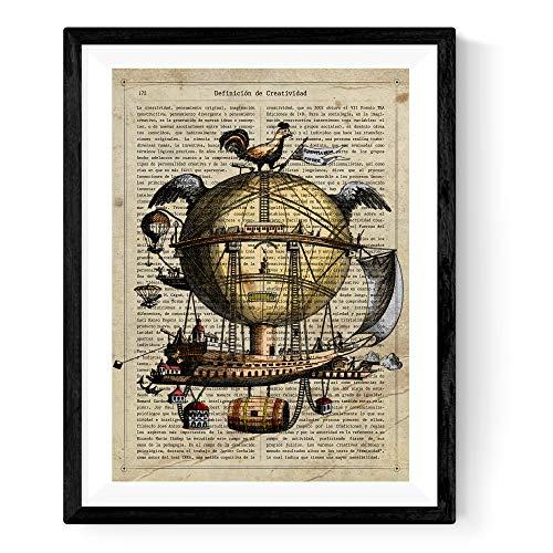 Nacnic Lámina para enmarcar Arca DE NOE. Lámina con definición de Diccionario Creatividad Poster Vintage con Imagen de Globo aerostático. Tamaño A4. Papel 250 Gramos tintas Resistentes.