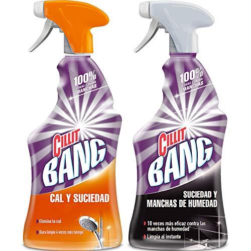Cillit Bang - Spray limpiador cal y suciedad y spray suciedad y manchas de humedad, para baños - Pack 2 x 750 ml