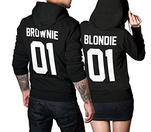 CVLR Blondie Brownie Pullover Pärchen Set - 2 Hoodies für Paare - Couple-Pullover - Geschenk-Idee - schwarz (Blondie L + Brownie M)