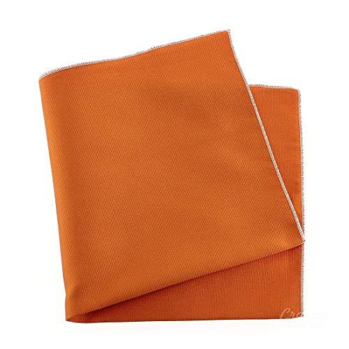 Tony & Paul. Pochette. Cousue main, Soie. Orange, Uni. Fabriqué en Italie.