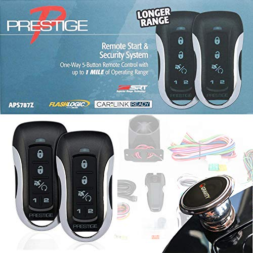 Prestige APS787Z One-Way Remote Start/Keyless Entry and Security System with up to 1 Mile Operating Range + Free Gravity Magnet Holder