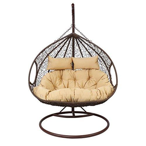 Lesli Living Hängesessel Farbe wählbar 2Personen Stahlgestell Hängestuhl Hängeschaukel Sessel, Farbe:braun-beige