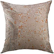Pattebom 1920 Spain Madrid Map City Throw Pillow Covers 20 x 20 Decorative Pillow Covers Farmhouse for Couch