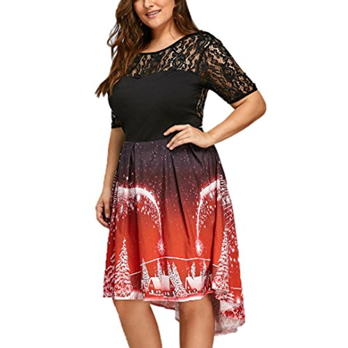 Price comparison product image ZYooh Plus Size Christmas Dress Womens Sexy Lace Backless Dress Ladies Casual Dress (Red,  XL)