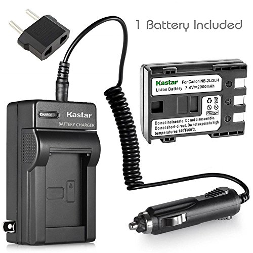 Kastar NB-2L NB-2LH Battery and Charger for Canon EOS Rebel XT Xti PowerShot G7 G9 S30 S40 S45 S50 S60 S70 S80; VIXIA HF R10 HF R100 HF R11 HG10 HV20 HV30 HV40 ZR100 ZR200 ZR300 ZR960 Digital Cameras