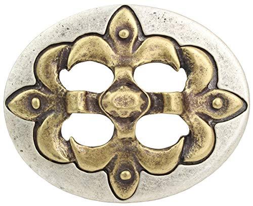Brazil Lederwaren Gürtelschnalle Lilie bicolor 4,0 cm | Buckle Wechselschließe Gürtelschließe 40mm Massiv | LARP- und Mittelalter-Outfit