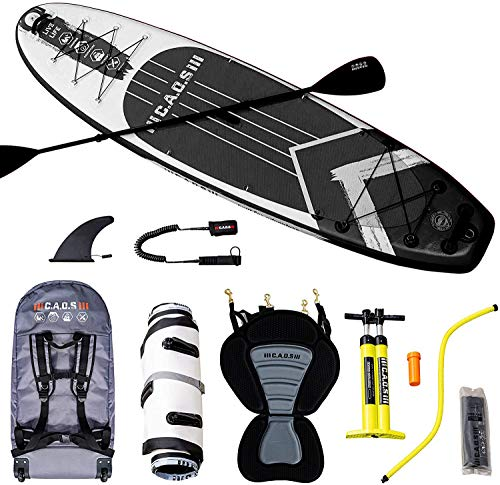 CAOS Inflatable Stand Up Paddle Board & Kayak Seat - Non Slip UV-Protected Deck, Fiber-Reinforced Paddle & Waterproof Carry Bag - Premium SUP Paddleboard for Adults with Pump & Pressure Gauge - Black