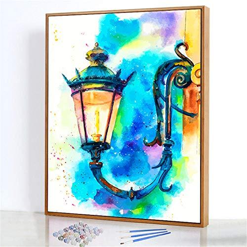 Diy Digitale Olieverfschilderij,Retro wandlamp Schilderen Door Cijfers,Linnen Canvas ,Foto Voor Binnendecoratie - 40x50cm(Fotolijst)