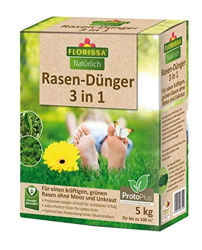 Florissa Natürlich 58792-5kg BIO Rasendünger 3 in 1 (5 kg) mit ProtoPlus und Eisen für einen dichten Rasen ohne Moos, Braun