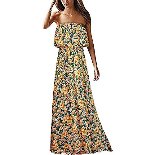Vestido de verano para mujer con hombros descubiertos, sexy, vestido largo con volantes, sin tirantes, bohemio, floral, maxivestido, ligero, delgado, casual, de noche, de fiesta, amarillo, M