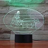 Solo 1 pcs 2019 Lámpara 3D de arado de la cultura china única más vendida con batería 7 colores con control remoto LED Lámpara de luz nocturna Holograma
