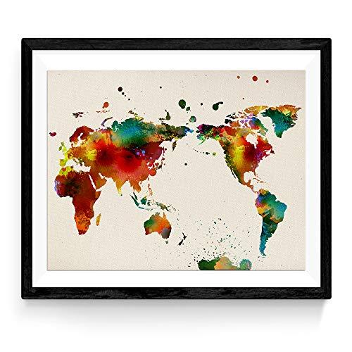 Frame Nacnic afdrukken op wereldkaart. Wereldkaart. Poster met aquarel foto's van wereldstijl. Print kaarten. Home decor. 30x40 formaat vellen voor inlijsten. Hoge kwaliteit 250 gram papier