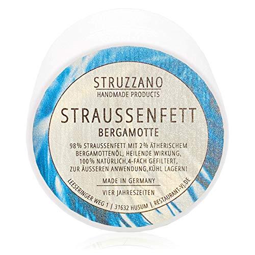 Struzzano - Straußenfett, vielseitige HEILENDE WIRKUNG, HEILUNGSWUNDER, zur HAUTPFLEGE, 100% natürlich, 4-fach gefiltertes Straußenfett, 100ml BERGAMOTTE (bergamotte, 100ml)