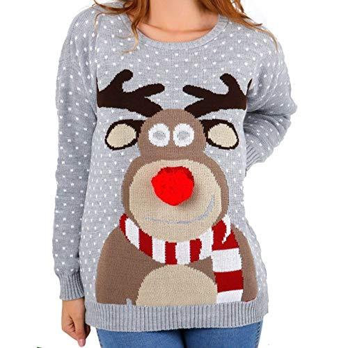 Hina Fashion Frauen Unisex Rudolph Print 3D-Pom Pom Nase Weihnachtspullover Sweater (X-Large,42, Grau)
