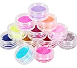 KAIKSO-IN 12 Farben-Metall Glitter Nail Art Tool Kit Acryl-Puder-Staub-Juwel Stamper 1003