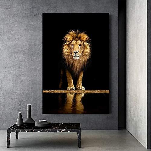 wZUN Carteles e Impresiones de Lienzo de león Salvaje Pinturas de Animales africanos en Las imágenes artísticas de Pared para la decoración de la Pared de la Sala de Estar del hogar 60X90 Sin Marco