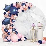 Guirnalda de Globos Rosa de Cumpleaños Arco de Globos Latex Kit de Guirnaldas de Globos Azul Marino, Globo de Látex Rosa con oro Rosa Confeti Globos Ideal para Cumpleaños, Bodas, Fiestas de Bebé