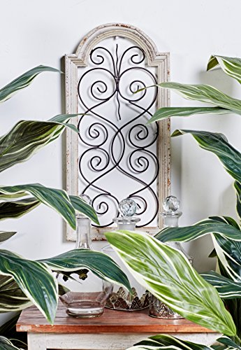 """Small, Vintage Style Distressed White Wood & Metal Wall Decor Panel, Decorative Gate Wall Decor, Antique Wood Decor Decorative Wall Panel, 10"""" x 20"""""""