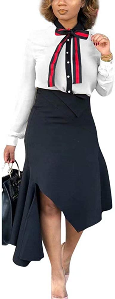 Women Two Piece Outfits Button Down Shirt and Split Pencil Skirt Tracksuit Set Business Work Suit