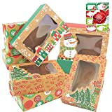 12 Christmas Cookie Boxes -Large Kraft Holiday Bakery Food Container for Gift Giving with 80 Count Christmas Foil Gift Stickers