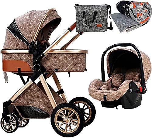 3 in 1 Passeggino per bambini Carrello, passeggino pieghevole Passeggino Ammortizzatore Ammortizzatore, Passeggino Pram Pram ad alto passeggino con coperta, borsa da mamma e copertura da pioggia Carre