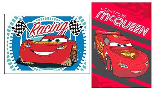 Diesney Cars 03 - Juego de 2 toallas para niños, toalla de cara, toalla de invitados, 2 unidades (35 x 65 cm), 100% algodón, diseño de Cars 03