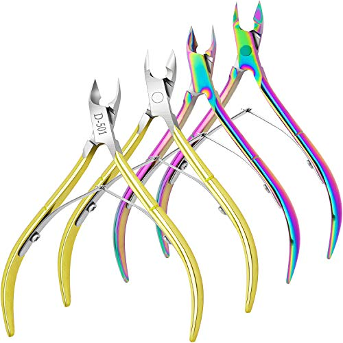 4 Packs Cuticle Nipper- Premium Stainless Steel Cuticle Trimmer for Manicure & Pedicure at Home/Spa/Salon [Gold and Rainbow Color]