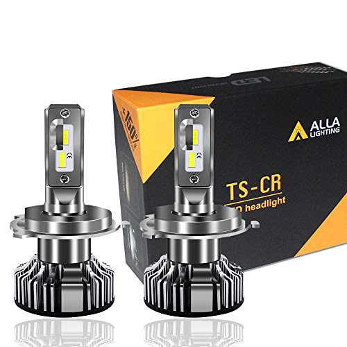 Alla Lighting 10000lm Xtreme Super Bright T4-5/8 P43t Base LED HB2 9003 H4 Headlights Bulbs Mini TS-CR Conversion Kits, 6000K Xenon White
