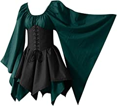 Aniywn Halloween Women Medieval Cosplay Costumes Gothic Retro Dress Plus Size Long Sleeve Corset Dress