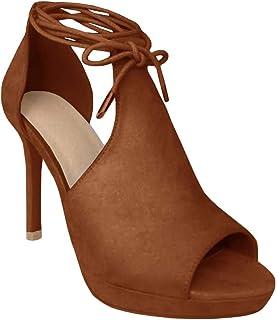 d24a8a2f41d20 Runcati Womens Peep Toe Thin High Heels Pumps Suede Strappy Ankle Wrap  Plateform Stiletto Sandals
