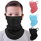 MoKo Kids Neck Gaiter Face Mask, 3 Pack Scarf Bandana Mask with Ear Loops for Kids Balaclava UV Sun Protection Dust Wind Proof Children Cycle Skating Bandanas for Girls Boys, Large, Red+Blue+Black