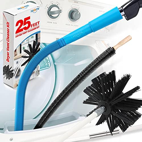 Holikme 3Pack Dryer Vent Cleaner Kit, Dryer Vent Cleaning Brush& Dryer Lint Vacuum Attachment&Flexible Dryer Lint Brush, Blue