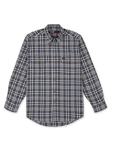 Wrangler Riggs Workwear Long Sleeve Foreman Plaid Shirt Camisa Work Utility, Azul/Naranja, 3XL Largo para Hombre