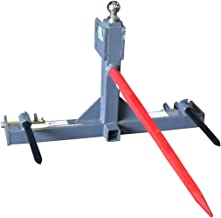 Titan Distributors Inc. 3 Point Gooseneck Tractor Trailer Hitch Receiver and Hay Attachment with Hay Bale Spears | Cat 1 & 2