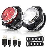 Hually Luces Bicicleta Recargable LED, Luz para Bicicleta por USB Conjunto de Luces Delantera y Trasera para Bicicleta 4 Modo 800mAh Reflector Bici Seguridad Faro de Señal,2 Cable USB