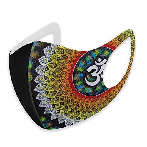 Mundschutz für Erwachsene, Mandala, Meditation, Regenbogen, Batikfärbung, Anti-Staub, halbes Gesicht, bequem für Damen und Herren