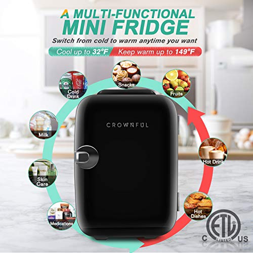 CROWNFUL Mini Fridge, 4 Liter/6 Can Portable Cooler and Warmer Personal Fridge for Skin Care, Cosmetics, Food,Great for Bedroom, Office, Car, Dorm, ETL Listed (Black)