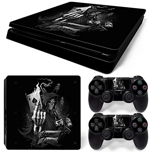 Sony PS4 Playstation 4 Slim Skin Design Foils Aufkleber Schutzfolie Set - Game Over Motiv