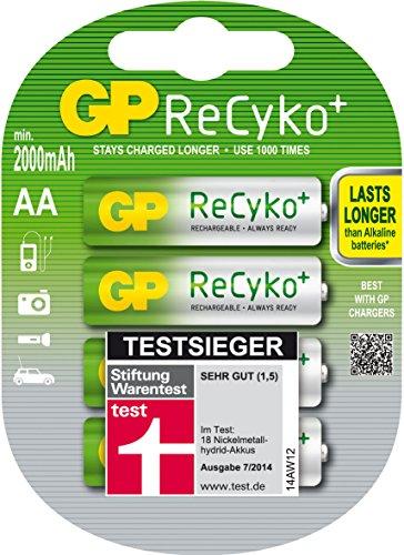 Akku Batterien GP ReCyko NiMH Ready2Use AA Mignon HR06 2000mAh bereits vorgeladen (4 Stück)