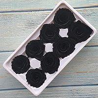 枯れない花 プリザーブドローズボックス不滅のバラの花DIY素材の花の装飾永遠の花 JFYJP (Color : ブラック, Size : フリー)