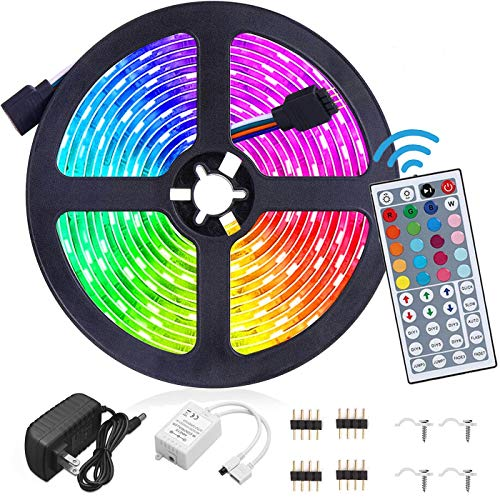 Led Strip Lights Waterproof 16.4FT/5M RGB 5050 Kit with 44 Keys IR Remote Controller and 12V Power Supply for Bedroom Home Kitchen Decoration