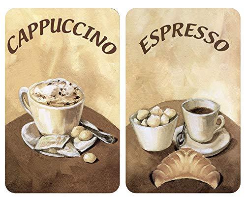 WENKO Herdabdeckplatte Universal Kaffee, 2er Set Herdabdeckung für alle Herdarten, Gehärtetes Glas, 30 x 52 cm, mehrfarbig
