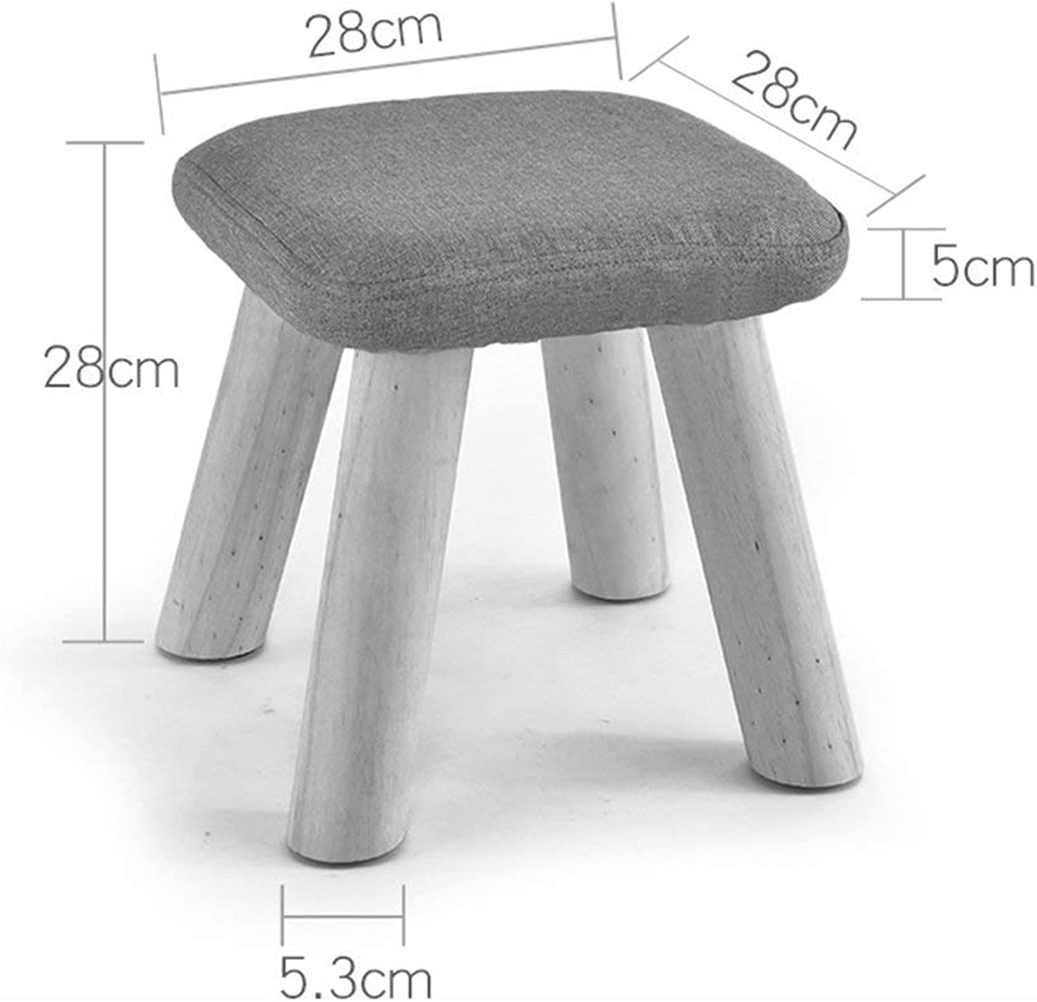 JZX Solid Wood Square Home Art Low Stool