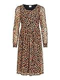 Vila Damen VIVOLETTE L/S MIDI Dress/LC Kleid, Black/AOP:Flower, L