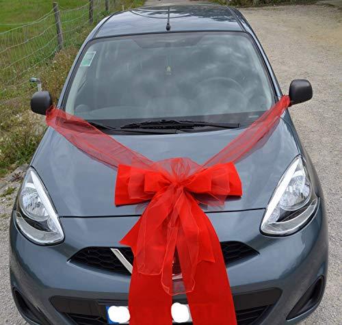 Grosse Autoschleife für Geschenk, exklusiv und glamorös, 60x80 cm, rote Autogeschenk Schleife