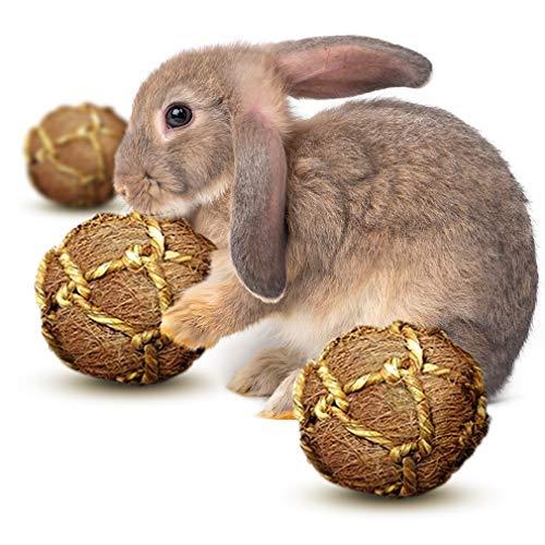 SunGrow Paquete de 3 Bolas De Fibra De Coco, Juguete Masticable Ideal para Conejos, Chinchillas Y Gatos, Estimula Durante Horas, Ecológico, Antiestrés