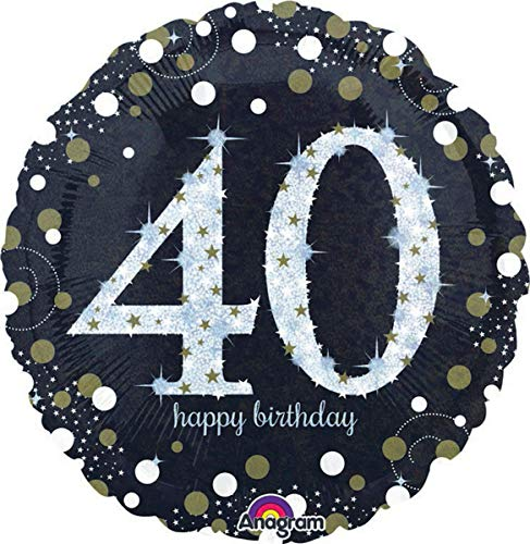 amscan 3213001 Folienballon 40 Sparkling Birthday, Schwarz, Silber, Gold