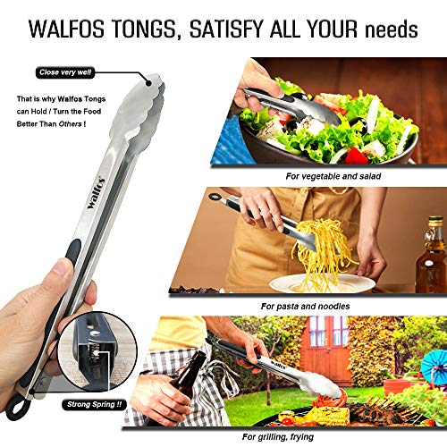 Walfos Kitchen Tongs - 7 inch Heavy Duty Food Tongs, 430 Premium Stainless Steel and Non-Slip Heat Resistant Handle - Great for Cooking, Salad, Grilling and Barbecue