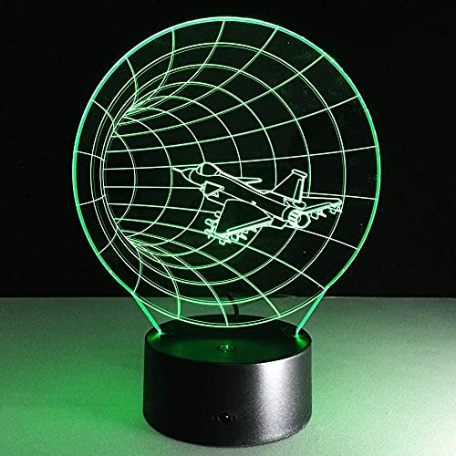 GMYXSW 3D LED Illusion Lamp for Kids Unique 3D Effect Time Airplane Shape LED Night Lamp USB Table Lamp for Kids Toy Bedroom Decor Aircraft Bulbing Lamp Birthday Gift(16 Colors Remote)-7 color touch